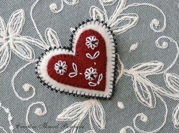 Valentine - Beaded Felt Heart Brooch Lapel Pin w/ Embroidered Flowers - Handmade - Dark Red Cranberry - Creamy White - Black Beads. $25.00, via Etsy.