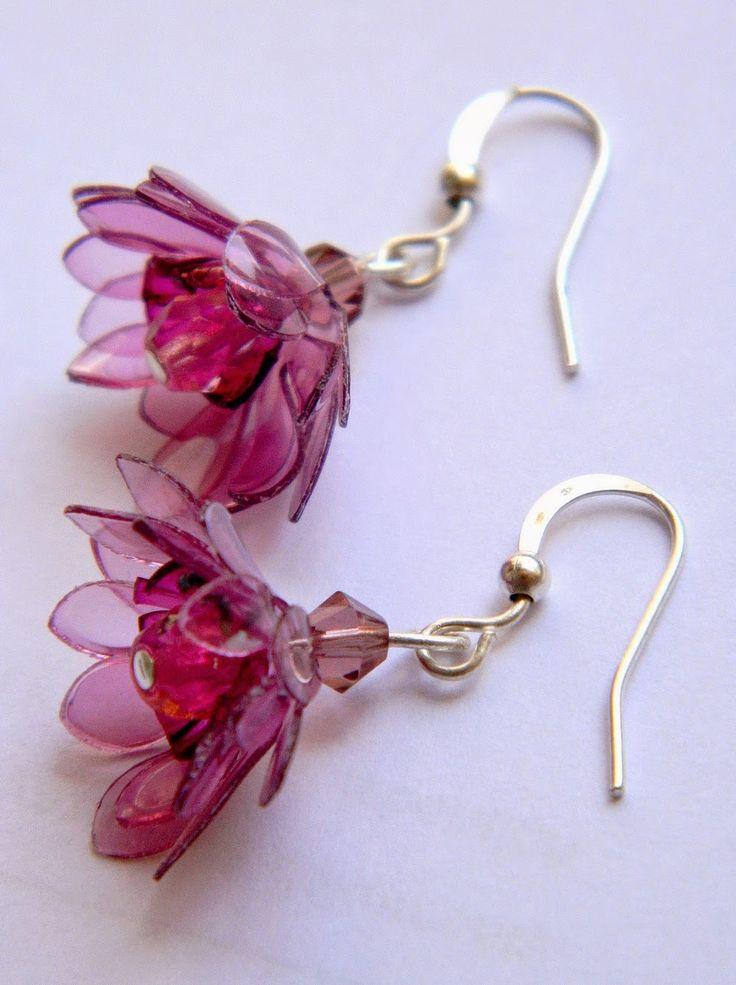 Цветя обици от пластмасови бутилки - Flower plastic bottles earrings