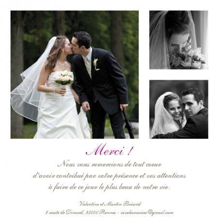 carte de remerciement de mariage wedding thank you card souvenir 3 photos by sibylle. Black Bedroom Furniture Sets. Home Design Ideas