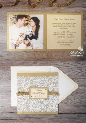 arany színű csipkés meghívó borítékkal