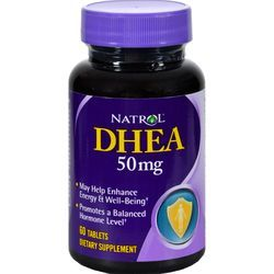 $8.24- Natrol DHEA - 50 mg - 60 Tablets, A hormone naturally found in the body that declines with age, DHEA converts itself into estrogen and testosterone.