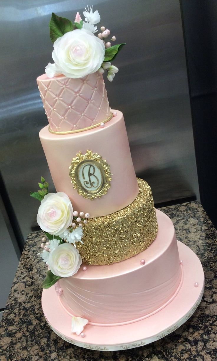 pink and gold sequin wedding cake