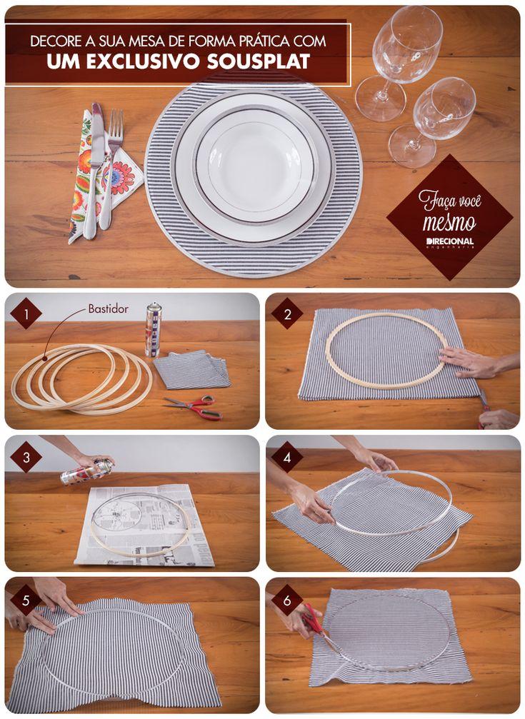 Forma prática de se fazer um sousplat para decorar a mesa.
