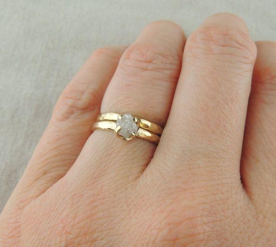 1 Karat roh-Diamant-Ring 14k Gelbgold von PointNoPointStudio