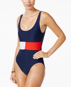Tommy Hilfiger Logo-Print One-Piece Swimsuit - Blue 10