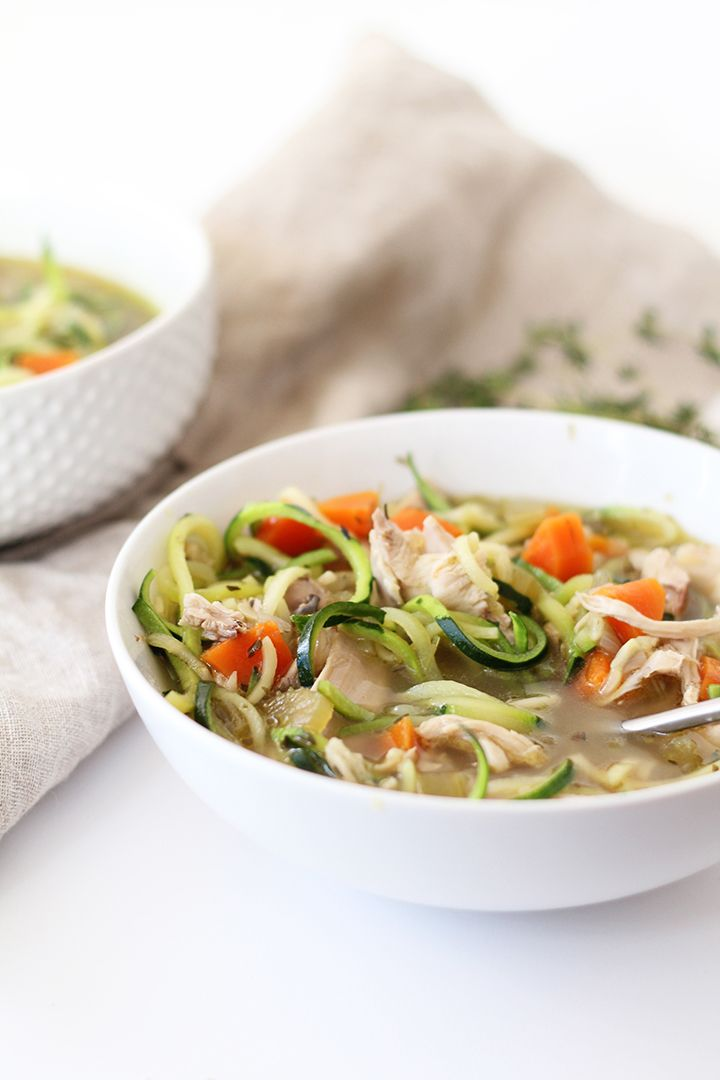 The Best Chicken Zucchini Noodle Soup, Ever! - made this tonight with rotisserie chic. Added potatoes. Served with avocados and corn chips. Fab!