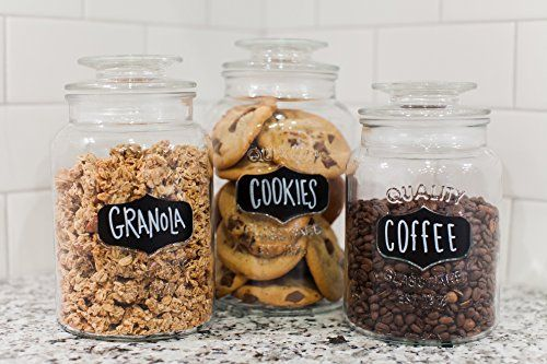 3 Jars, Endless Options: Use our decorative glass canisters to store sugar, flour, spices, seeds, shells, beads, bath salts, powders & more. You get 3 versatile sizes: 34, 43 & 54-oz (1, 1.2 & 1.5L) Crafted for Keeps: These premium jars come in clear, sparkling glass, fashioned for strength & beauty by a revered glassware company (est. 1876). Perfect gift idea for brides & new homeowners! Easy-Off Lids...No More Wrist Strain: With their secure rubber seal, our airtight gla...