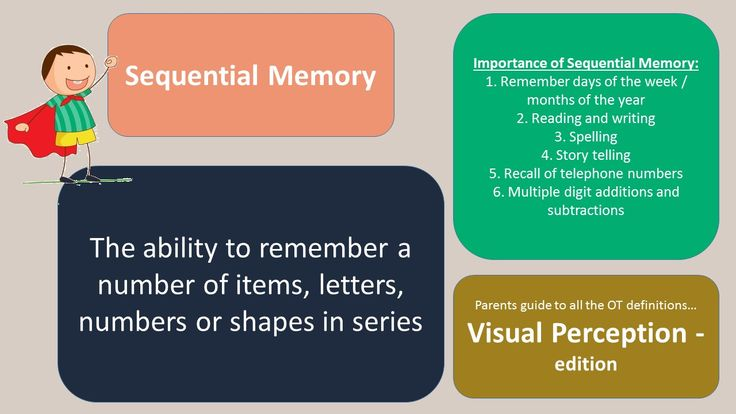 Parent's guide to OT definitions - Visual Perception Edition  SEQUENTIAL MEMORY   Important skill for spelling, reading, mathematics, story telling.   #visualperception #sequentialmemory #occupationaltherapy #bigtreetherapy