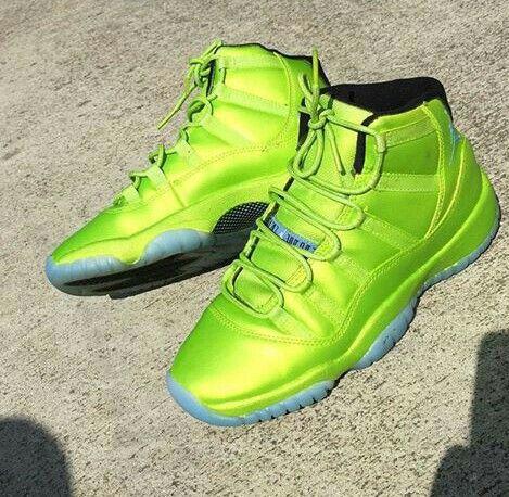 12a6df45559d Custom neon green Jordan 11s