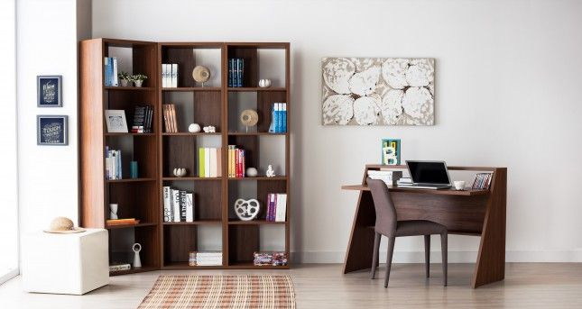 Divi Kitaplık ve A Çalışma Masası, Ceviz #furniture #interior #decoration
