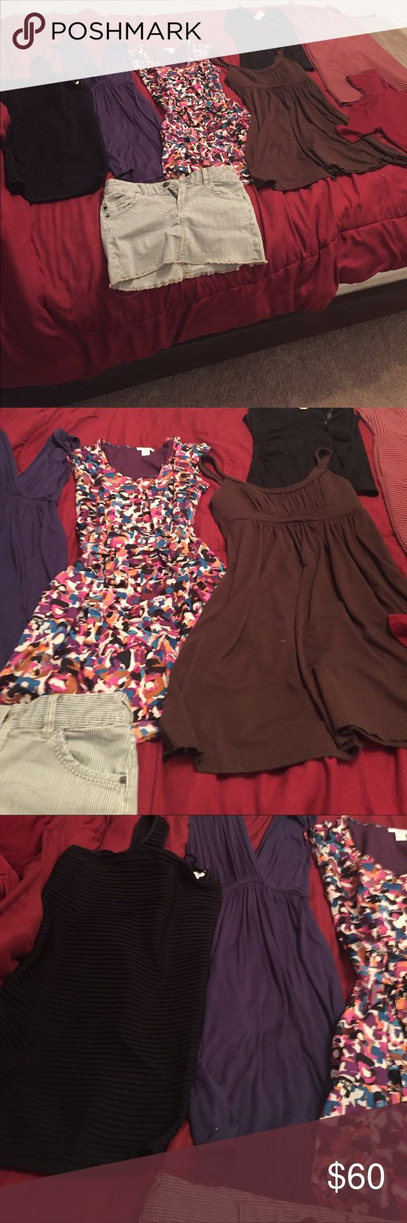 HAVE IT ALL SALE! This listing includes everything pictured 8 items total Express blue and white striped skirt sz 4  BCBG black stretchy going out dress sz M/L  Soprano blue dress sz medium   Bar III multi colored dress sz small  Ann Taylor black cowl neck shirt NWT sz small   Three pink hearts brown dress sz medium  Loft pink and black striped dress size 0   Mossimo maroon shirt sz xs Dresses