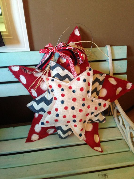 Cute Burlap Door Hanger Patriotic home by SimplyShabbyByBella, $27.00