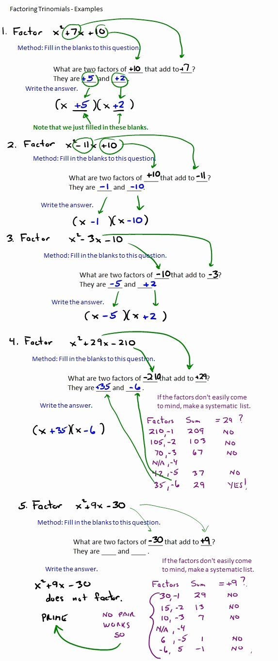 Factoring Trinomials Worksheet Answers Inspirational The Best Way To Factor Trinomials In 2020 Quadratics Factor Trinomials Quadratic Equation
