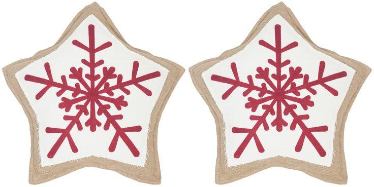 Snowflake Cookie Jute Throw Pillow