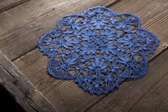 Navy blue doily lace by SamoPL on Etsy