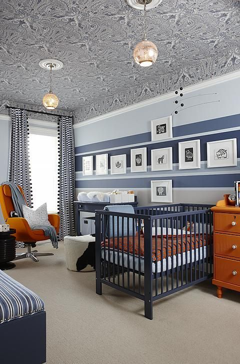 a sarah richardson stroke of fabulousness! sophisticated modern blue nursery