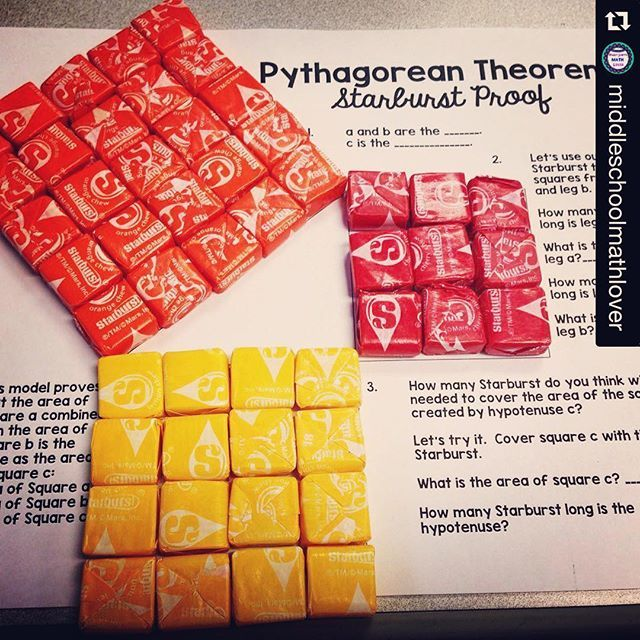 :heart_eyes: #Repost @middleschoolmathlover with @repostapp. ・・・ Math is always more fun with candy right? Today we proved the Pythagorean theorem with starburst!