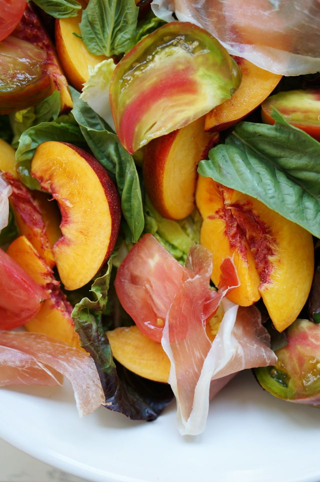 Nectarine summer salad with  proscuitto