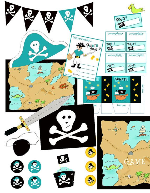 Boys Pirate Birthday Party Printable Decorations ... everything you need for a DIY Pirate party! by ziggityzoom, $5.00