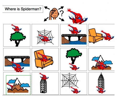 Where is Spiderman/Dora/Thomas? Visuals for wh- questions, spatial concepts.