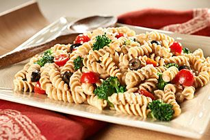 Easy Pasta Salad recipe, but I will use balsamic vinaigrette, since I don't have Italian dressing at the moment