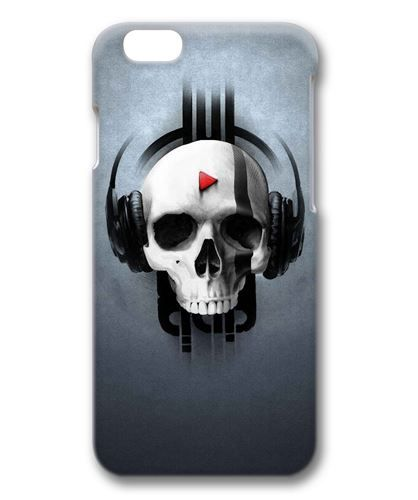 """Picture of Skull Listening to Music Case for iPhone 6 4.7"""" 3D PC Material,$12.99"""