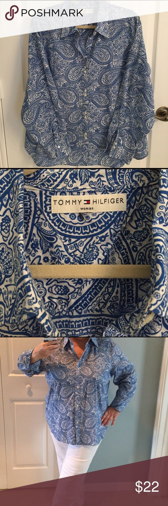 Tommy Hilfiger Blue & White tailored Plus shirt. 100% cool Cotton and lightweight. Perfect for those warm summer days... Looks great with white or denim pants. Excellent barely worn condition. I cut off size tag because it bothered my neck but true to size 16. Tommy Hilfiger Tops Button Down Shirts