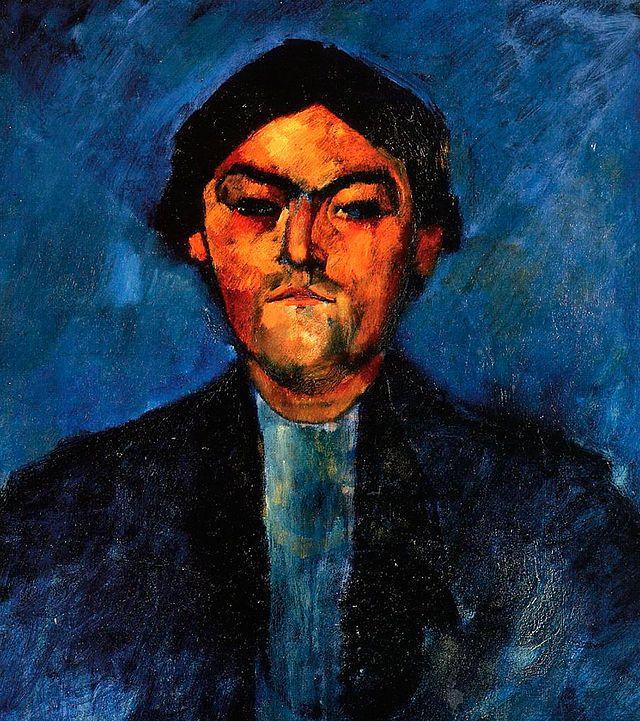 Pedro el Tipografo. AMEDEO MODIGLIANI. Livorno (1884-1920). 1909. Óleo sobre lienzo. 55 × 46,5 cm. - Museo Soumaya, Ciudad de México,  México.