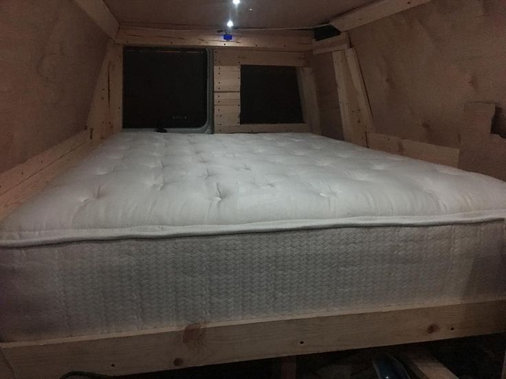Memory foam pillow top full mattress for many comfortable nights #urbancamping #vanlife #xox4x4 #vandweller #vanliving #camping #tinyhouse #beauty