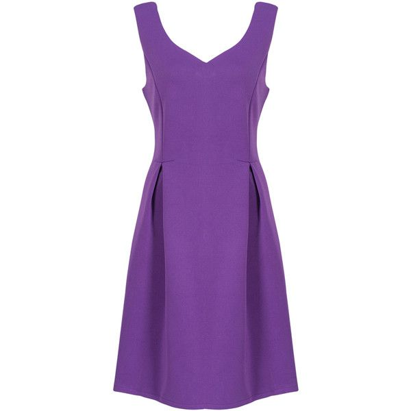 Purple V-neck High Waist Skater Dress (37 CAD) ❤ liked on Polyvore featuring dresses, v neckline dress, v-neck dresses, v neck skater dress, purple dress and v neck dress