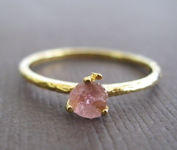 Organic Raw Petite Pink Tourmaline 22k Vermeil Stacking Clutch Cocktail Ring q on Etsy, $46.50