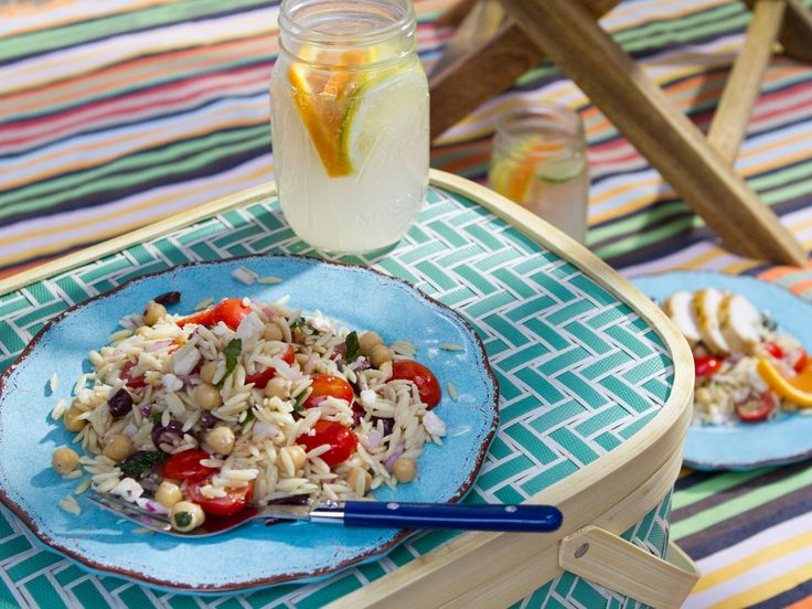 Orzo Salad : A Mediterranean-focused take on pasta salad, Trisha's speedy recipe combines rice-shaped orzo noodles with briny Kalamata olives and grape tomatoes, plus chickpeas for heft and feta cheese for a welcome bite.
