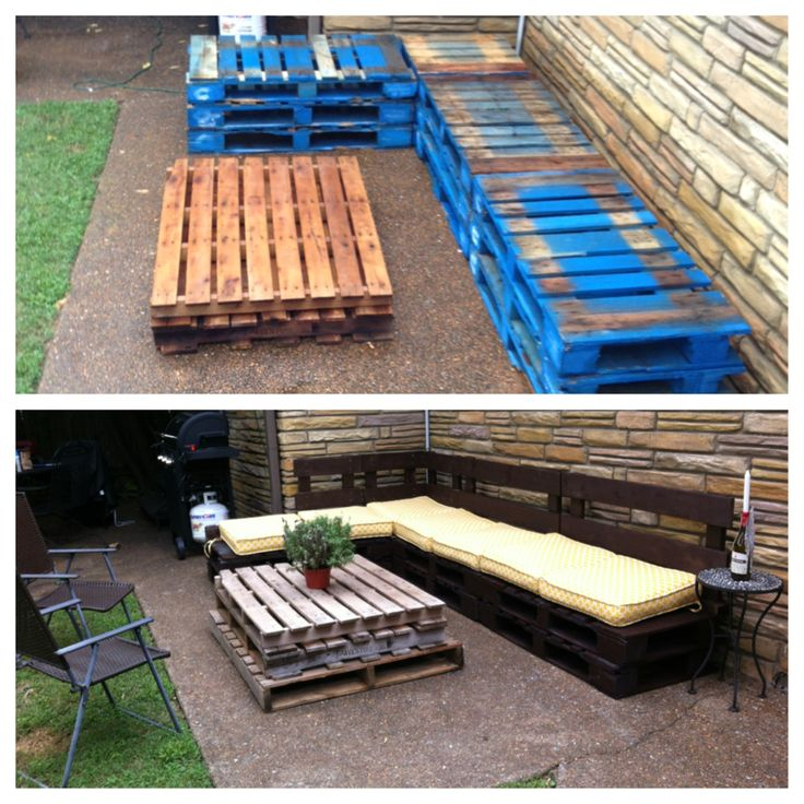 Pallet couch- Start by ordering deep seat cusions and then cut the pallets to match measurements. Use the excess to make the backs.
