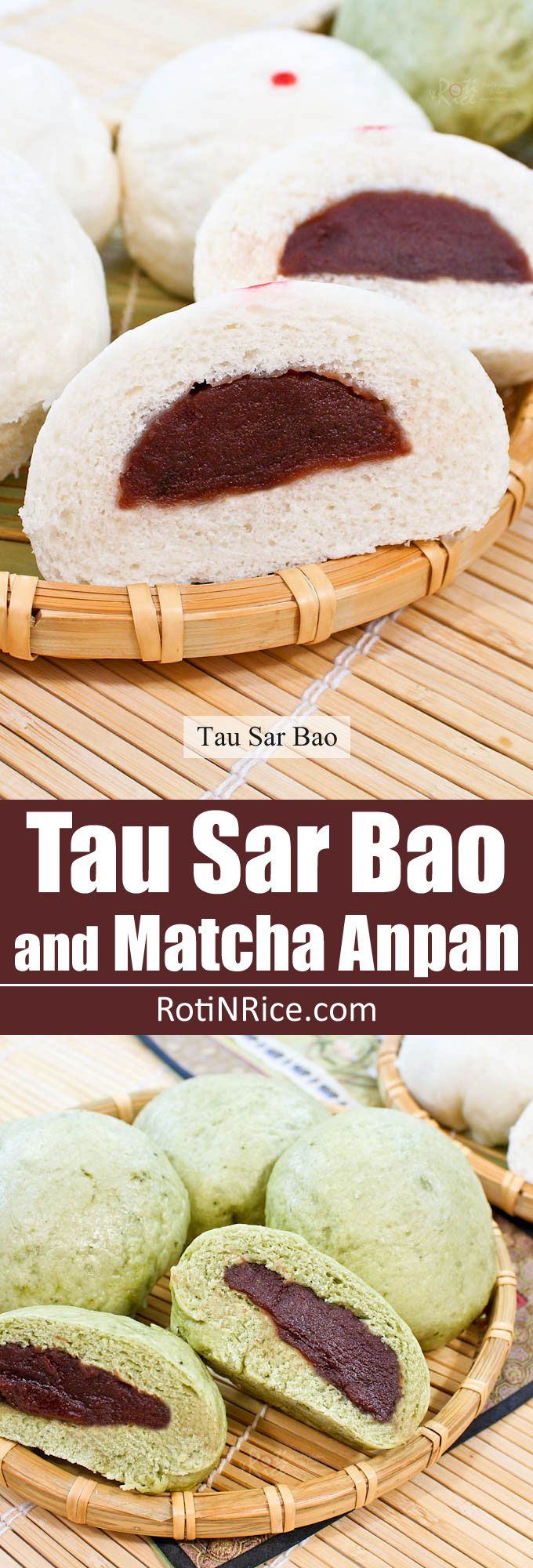 Soft, white Tau Sar Bao with red bean paste filling makes a delicious breakfast or snack. Add some powdered green tea to make Matcha Anpan. | RotiNRice.com