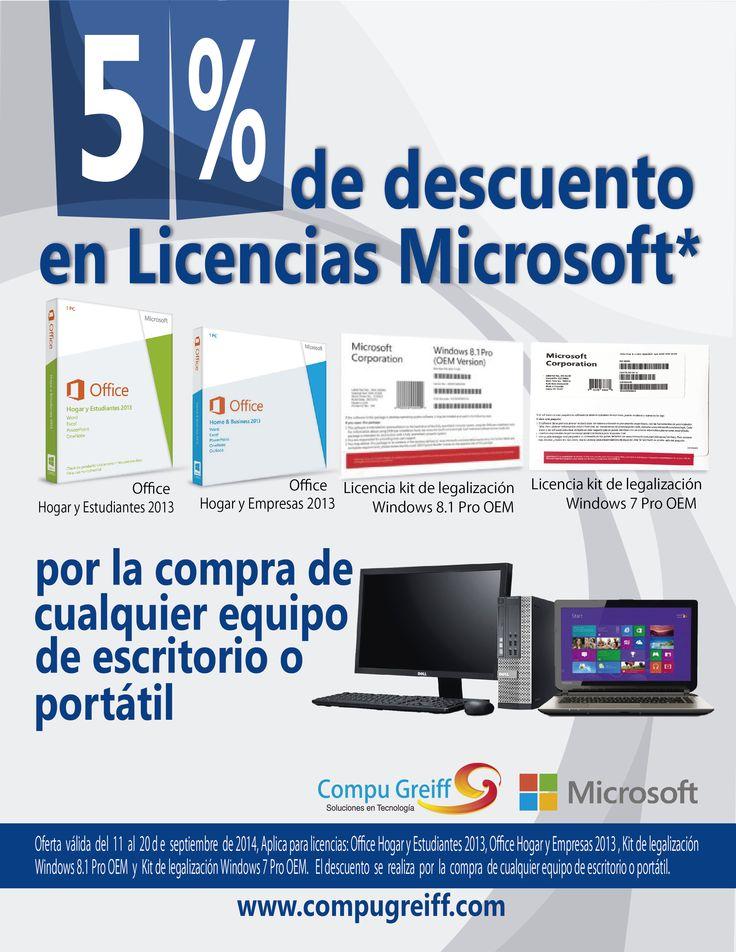 Obten 5% de Dcto en Licencias Microsoft* por la compra de cualquier equipo de escritorio o portátil