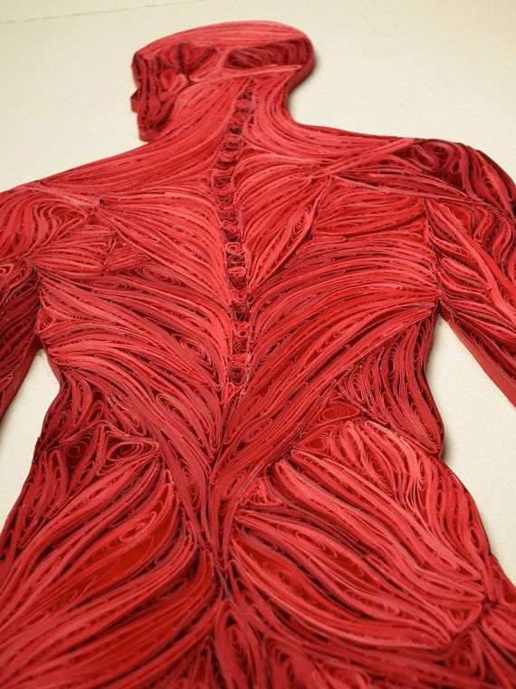 This is all QUILLED paper!!! Quilled Full Figure Muscle Structure Fine art by YakawonisQuilling