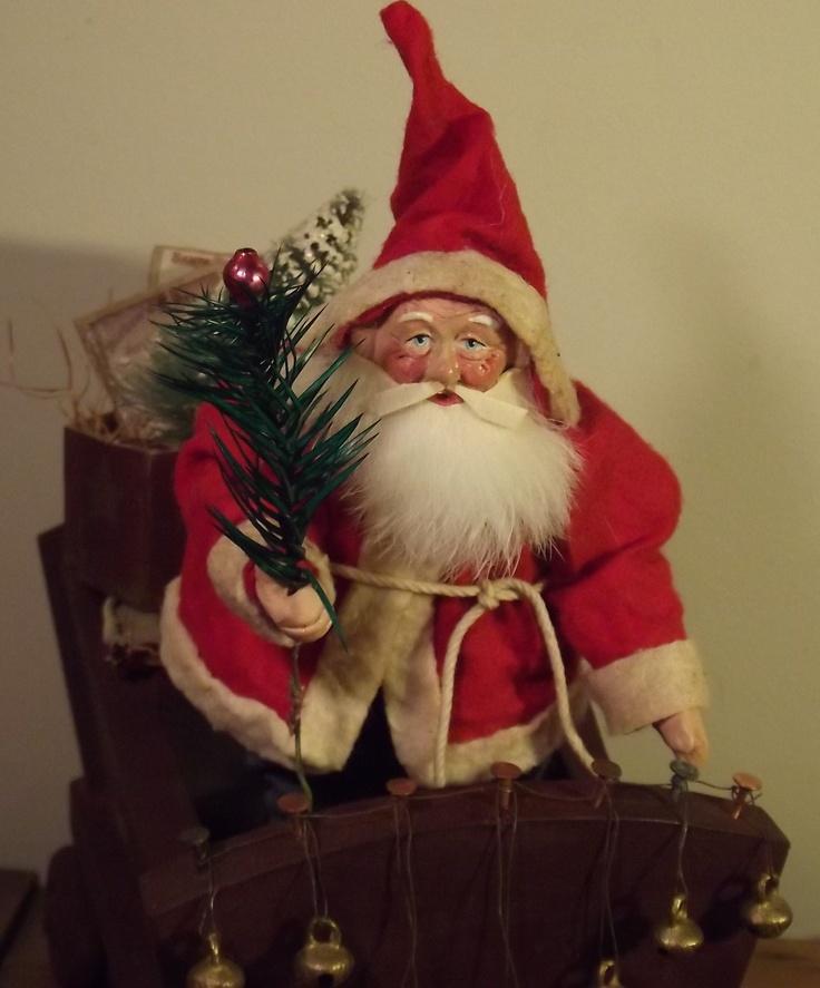 HandMade Little Santa In Wooden Sleigh By Kim Sweet~Kim's Klaus