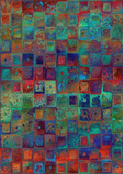 Designer Artist Created Performance  Fabric Large Panel Abstract Squares Green Blue Red Fiber Art