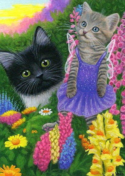 Details about Tuxedo cat fairy tabby kitten summer garden flowers original aceo painting art