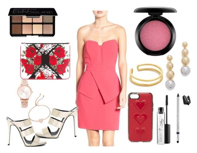 """""""Peached up"""" by hillarymaguire ❤ liked on Polyvore featuring Adelyn Rae, Trish McEvoy, MAC Cosmetics, Smashbox, Elizabeth and James, Giuseppe Zanotti, Maya Magal, Rebecca Minkoff, Alexander McQueen and Michael Kors"""