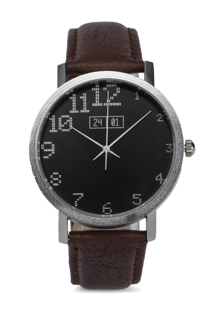 Minimalist style watch by 24:01, Brown Men's Faux Leather Strap Watch. Watch with round-shaped face for casual style. Analog watch with leather strap, buckle detail, case diameter 3,9 cm, strap length 24 cm.   http://www.zocko.com/z/JFxEl