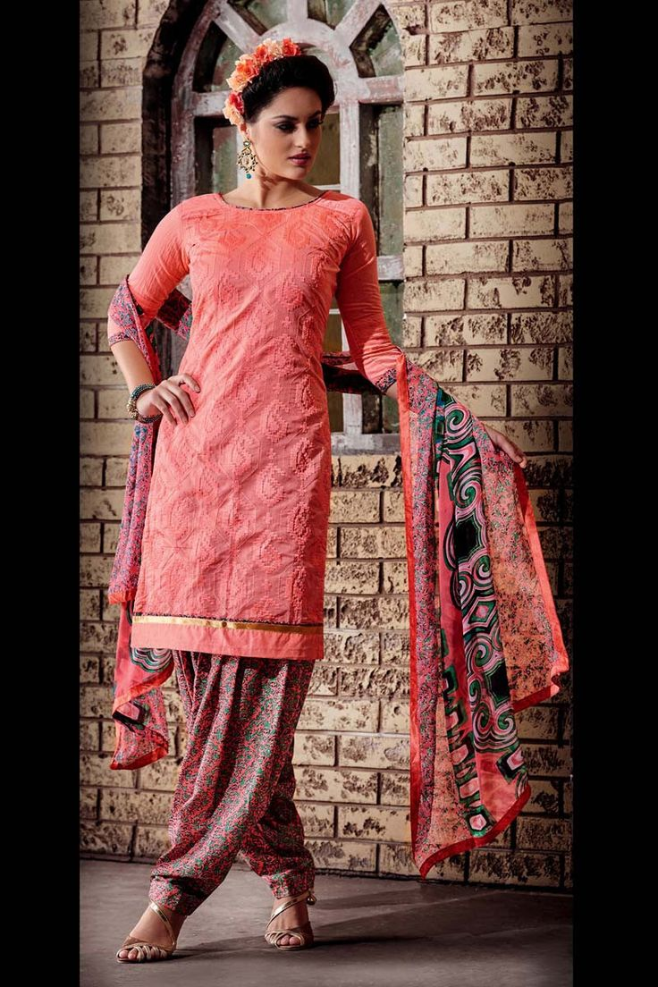 Pink Chanderi Punjabi Salwar Suit with Dupatta