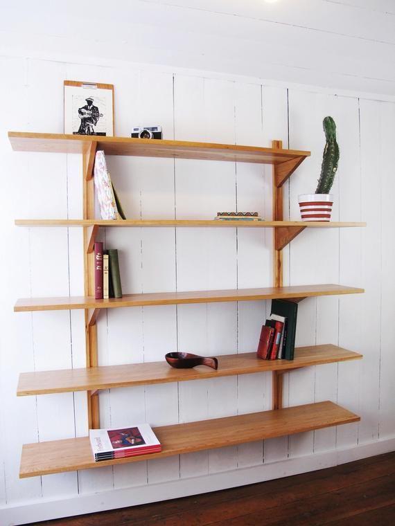 Bookshelves 3 Shelves Wall Mounted System Customizable Mid Century Bookcase Solid Wood Wall Unit Scandinavian Style Modern Wall Mounted Bookshelves Shelves Modular Shelving