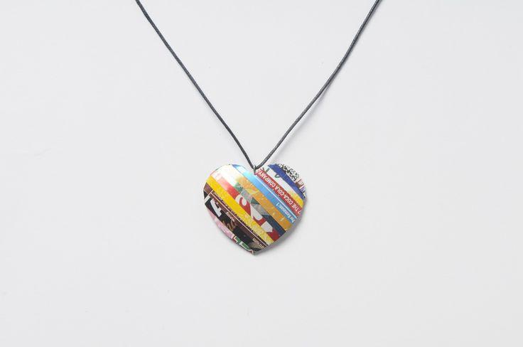 Soda can heart shape necklace