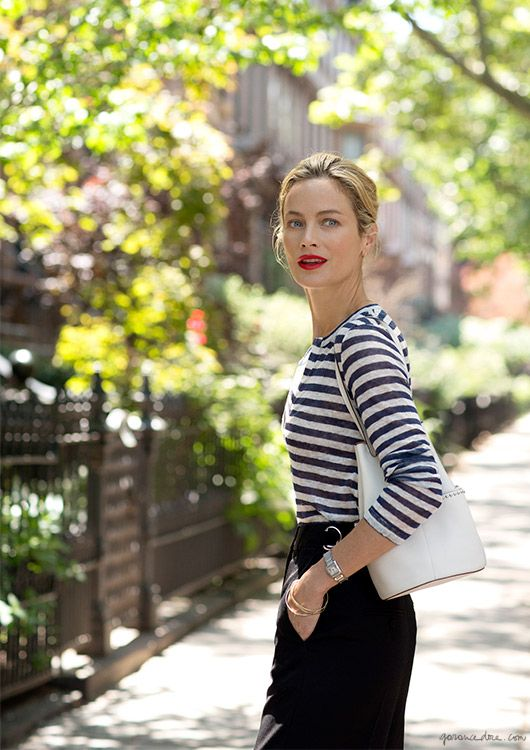 Striped outfit by Carolyn Murphy  | 40plusstyle.com