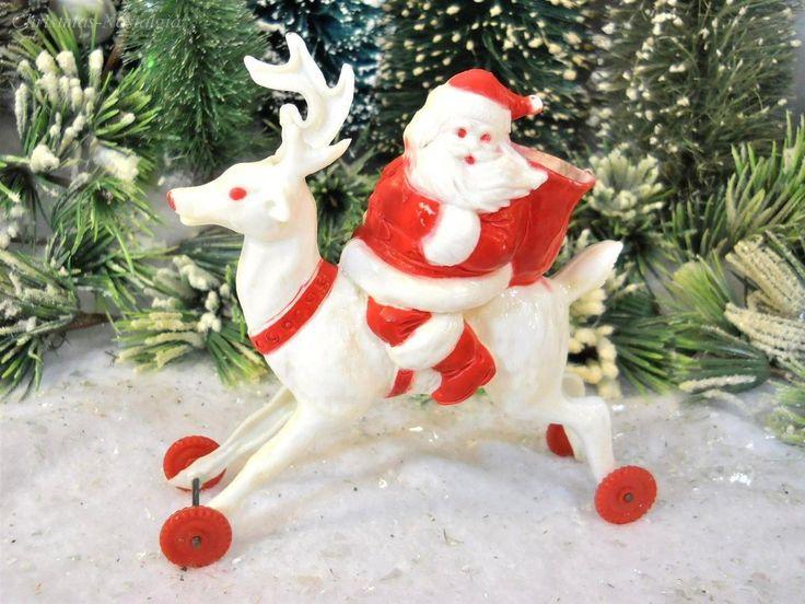 1940s Rosbro SANTA & REINDEER Hard Plastic Wheeled Xmas ROSEN Candy Container * + * ADORABLE VINTAGE LOLLIPOP HOLDER! * + * Description: Adorable 1940s-1950s-era Rosbro Santa Claus mounted on a wheel