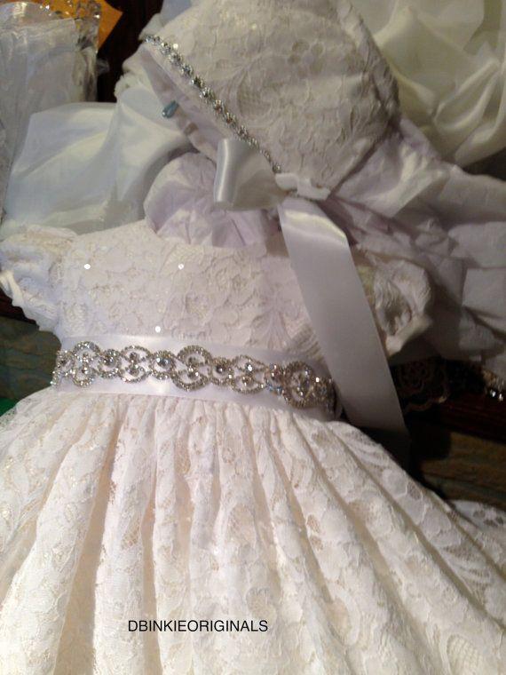 ElisabethChristening Gown Hat Slip Slippers by DbinkieOriginals