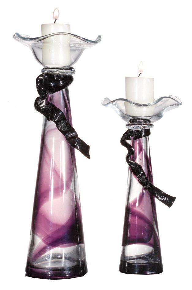 Nastro Viola 2 Piece Glass Candlestick Set