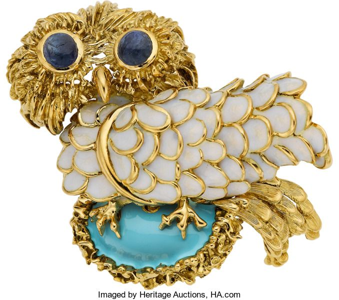 Estate Jewelry:Brooches   Pins, Tiffany U0026 Co. Sapphire, Enamel, Gold