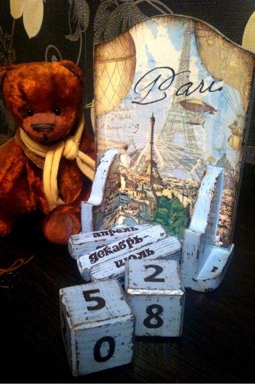 """Вечный календарь """"Под небом Парижа"""" - Декупаж,календарь,календарь ручной работы"""